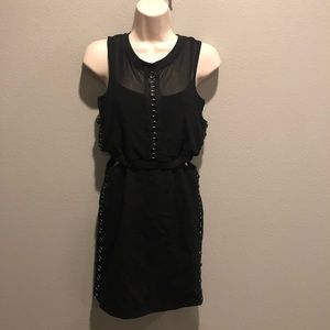 LF Black Bodycon Mesh Dress With Grommets